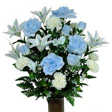 light blue flowers light blue and white carnation mix silk cemetery flowers