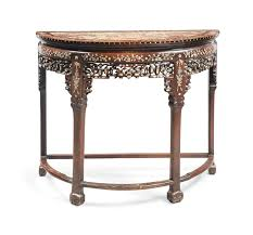 chinese rosewood side table a chinese rosewood and mother of pearl inlaid demi lune side table