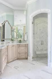 light brown wash vanity cabinets transitional bathroom