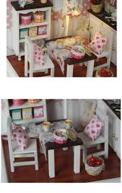 Dollhouse Kitchen Furniture Diy Handmade Wooden Miniature Doll House Kit Room Box Kids Toys
