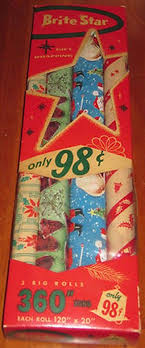 vintage christmas wrapping paper rolls vintage lot of 4 rolls brite christmas wrapping paper in box