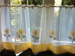 Sunflower Valance Kitchen Curtains by Yellow Checkered Kitchen Curtains Diy Home Decor Cafe Curtains