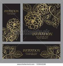 wedding backdrop graphic background with gold graphic flowers for wedding invitation