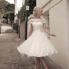 vintage inspired scoop tea length lace short wedding dresses wed