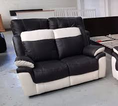 White Leather 2 Seater Sofa Scs Leo Black U0026 White Leather 2 Seater Sofas Rrp 995 Can