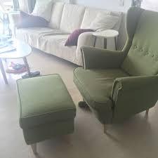 Ikea Strandmon Armchair Ikea Strandmon Armchair And Strandmon Footstool Green Home