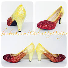 wedding shoes low heel pumps glitter high heels orange yellow ombre pumps low heel