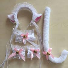 Neko Halloween Costume White Cat Cosplay Ears Headband Collar Cuffs Tail