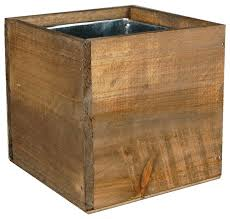 wood box planters with zinc liner rustic outdoor pots and