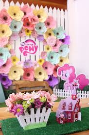 my pony party ideas centerpieces from a my pony pastel birthday party via