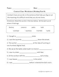 context clues worksheet writing part 8 intermediate education