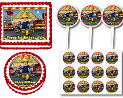 firefighter cupcake toppers fireman cake topper etsy