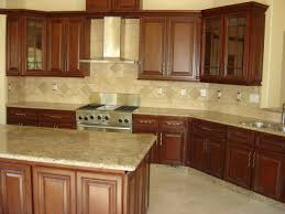 walnut travertine backsplash traditional kitchen with wooden walnut cabinets and granite