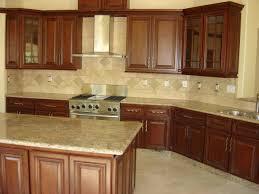 walnut travertine backsplash traditional kitchen with wooden walnut cabinets and granite