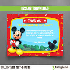 disney mickey mouse clubhouse birthday thank you cards instant
