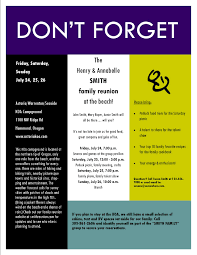 sample family reunion invitation flyer ideas for family reunions