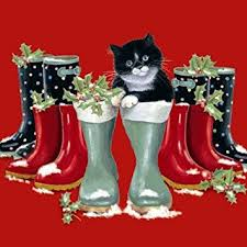 black white cat christmas cards chrissie snelling puss in boots
