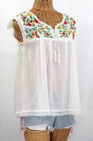 white sleeveless blouse la marbrisa embroidered sleeveless peasant blouse top
