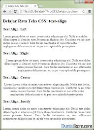 membuat teks berjalan menggunakan html tutorial belajar css cara mengatur rata teks text align duniailkom