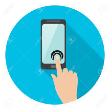 touch flat hand clicks on the phone icon pointer stock vector