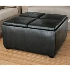 ottoman with 4 stools amazon com pu leather ottoman with 4 tray tops storage bench coffee