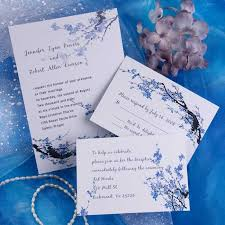 wedding invitations blue cheap blue blossom floral wedding invitations ewi165 as low as 0 94