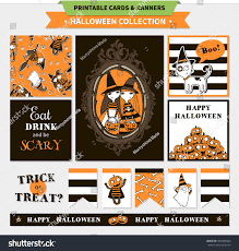 halloween printable vector cards banners cartoon stock vector