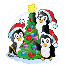 cartoon three penguins with christmas tree by clairev toon