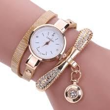 amazon com inkach women leather rhinestone analog quartz wrist