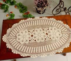decorations handmade crochet flowers oval tablecloth