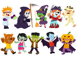 halloween background with silhouettes of children trick or treating in halloween costume cartoon children wearing costumes of classic halloween monster