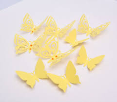 3D Butterfly Wall Decor Pastel Yellow Paper Butterflies Wall
