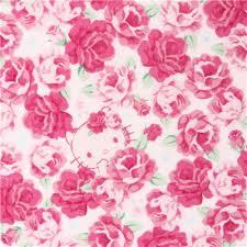light cream pink kitty cute face flower fabric kokka