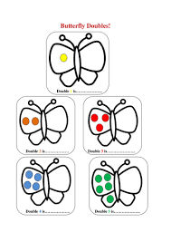 butterfly doubles doubling worksheet by missbrooker teaching