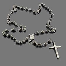 black silver rosary necklace images Black silver rosary bead necklace jpg