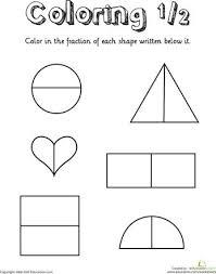 grade 1 fractions worksheets fractions of shapes 1 4 worksheet