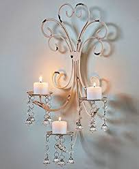 Chandelier Wall Sconce Amazon Com 2 White Chic Shabby Hurricane Crystal Hanging Candle