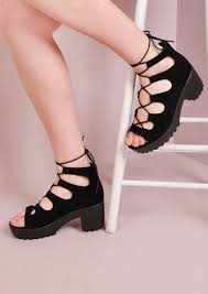 lace up cleated platform chunky heel sandals black