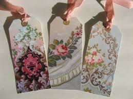 shabby chic rose wallpaper hang tags victorian set of 6 shabby
