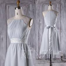 2017 light gray chiffon bridesmaid dress a line wedding dress