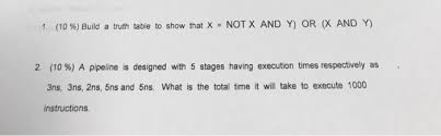 What Is A Truth Table 1 10 Build A Truth Table To Show That X U003d Not Chegg Com