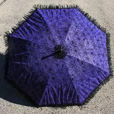purple goth parasol fuzzy black velvet spider web halloween