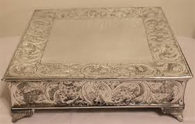 silver wedding cake stand grand silver square wedding cake stand plateau 14 inch
