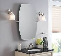 Bathroom Mirrors Brushed Nickel Large Framed Bathroom Mirrors Engem Me Intended For Brushed Nickel
