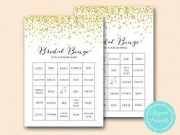 wedding words for bingo gold confetti bridal shower set magical printable