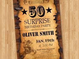 50th birthday invitation western theme birthday for men surprise