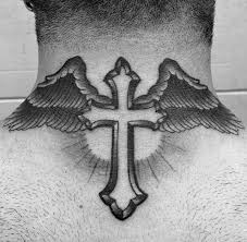cross tattoo on back of neck tattoo collections