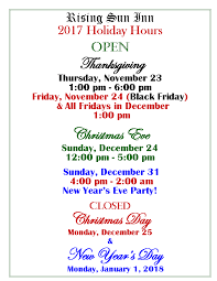 black friday hours 2017 2017 holiday hours u2014 rising sun inn