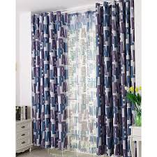 Cool Curtains Unique Navy Blue And Purple Alphabet Pattern Thermal Cool