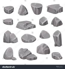 Shades Of Gray Rocks Stones Flat Isolated Elements Different Stock Vector